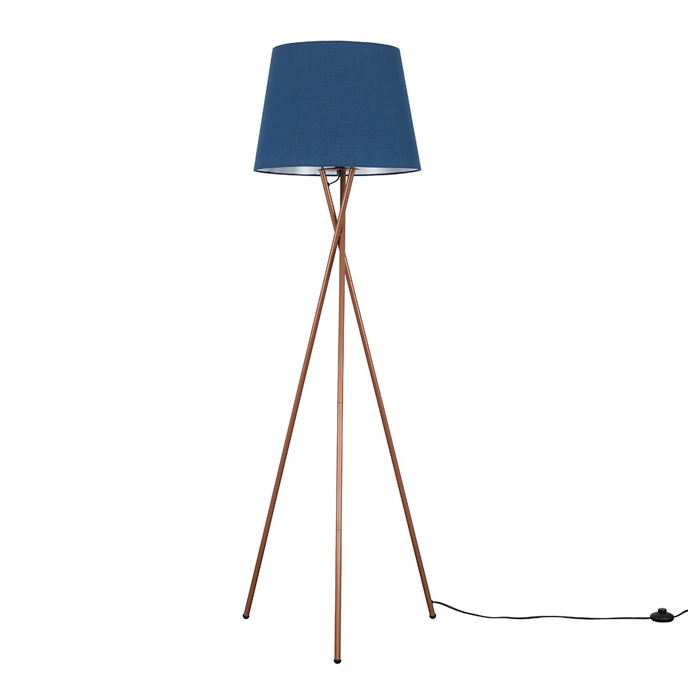 Camden Copper Tripod Floor Lamp with XL Navy Blue Aspen Shade
