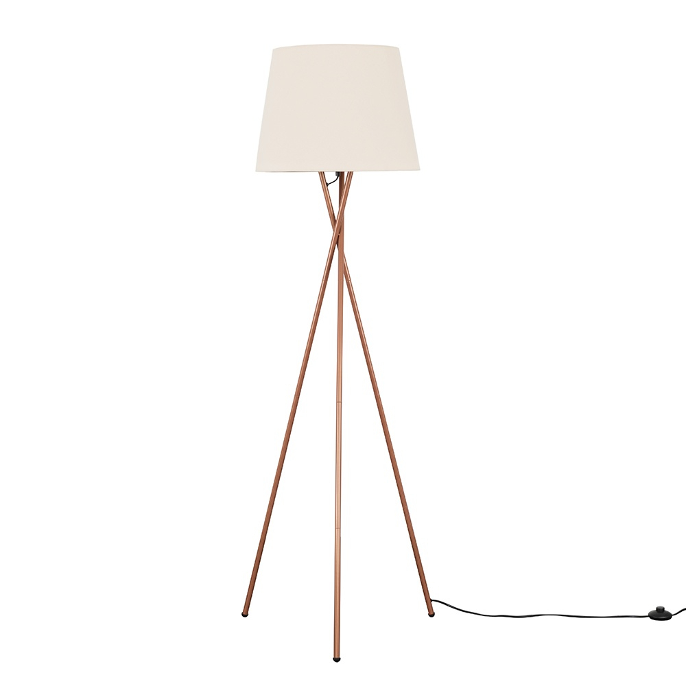 Camden Copper Tripod Floor Lamp with XL Beige Aspen Shade