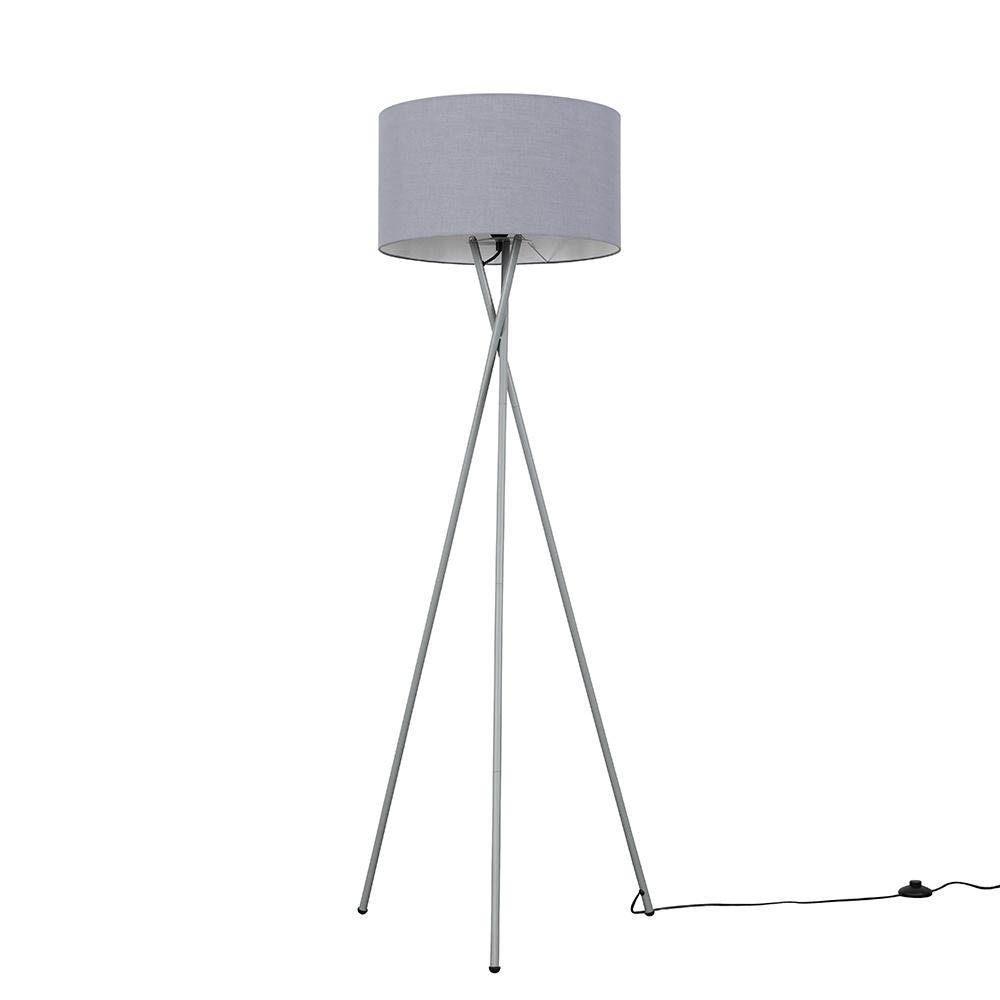 Camden Grey Tripod Floor Lamp with XL Dark Grey Reni Shade