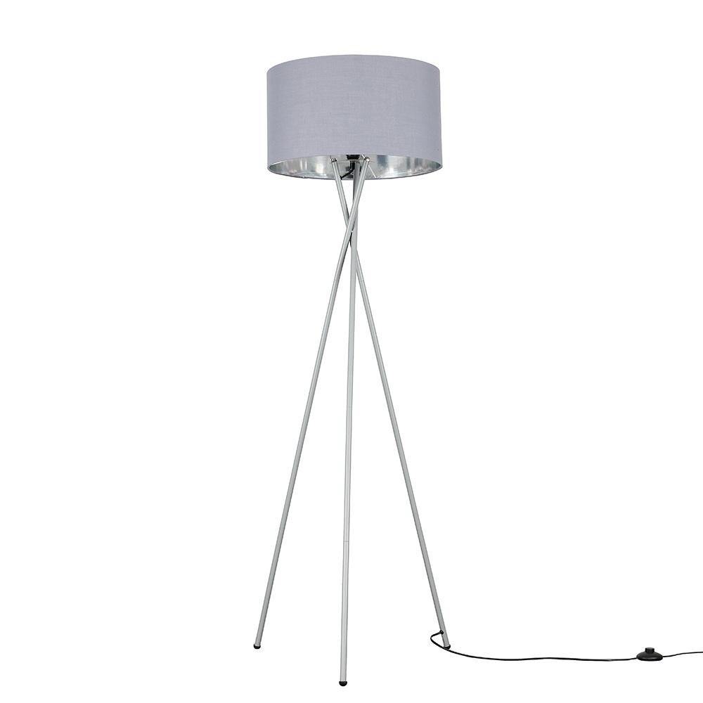 Camden Grey Tripod Floor Lamp with XL Grey and Chrome Reni Shade