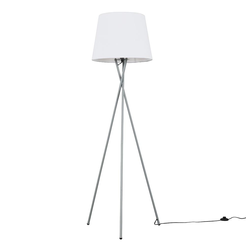 Camden Grey Tripod Floor Lamp with XL White Aspen Shade