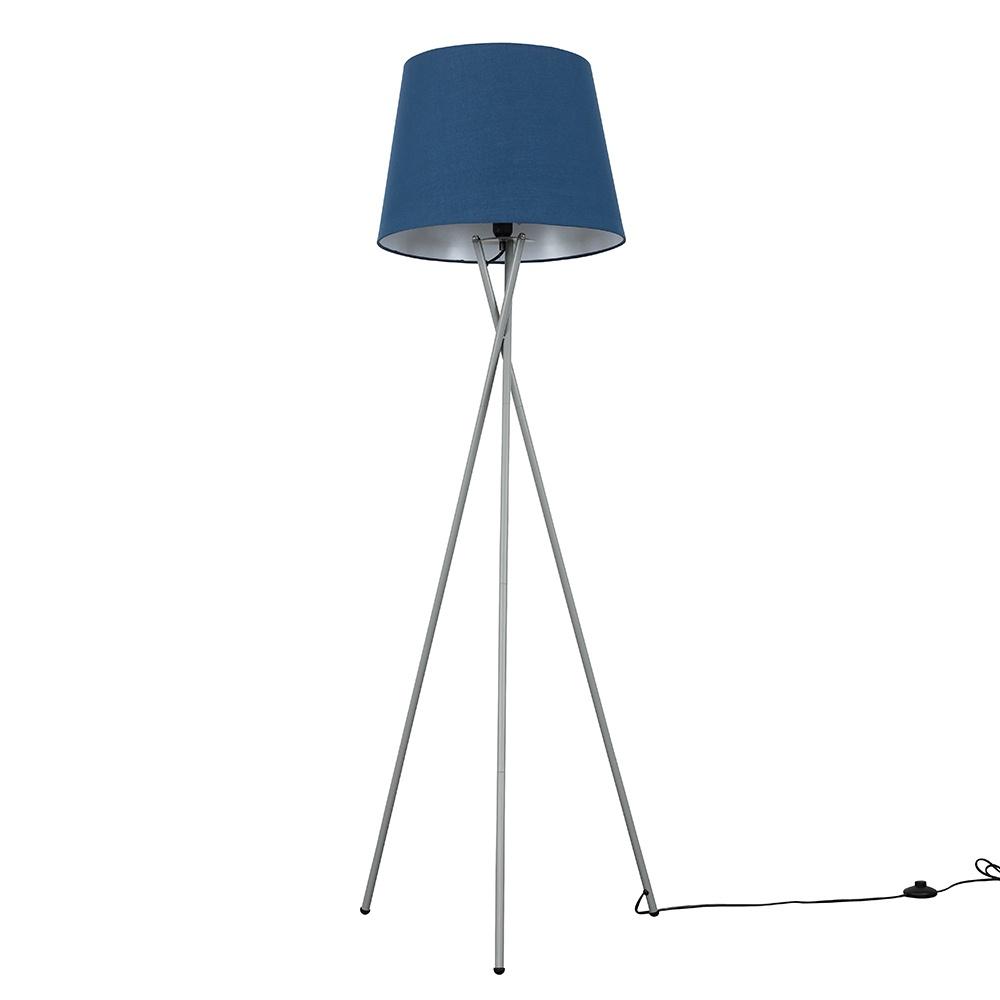 Camden Grey Tripod Floor Lamp with XL Navy Blue Aspen Shade