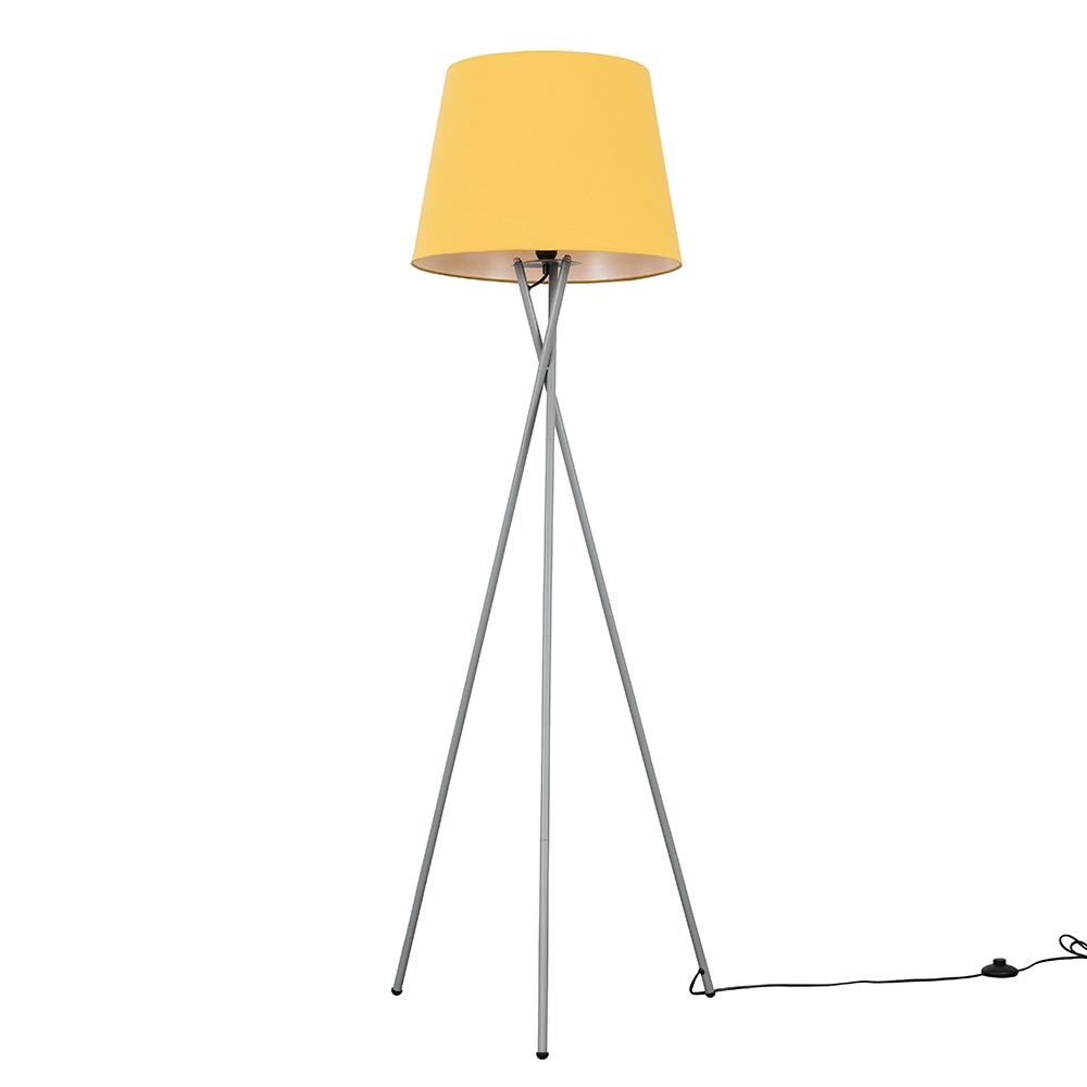 Camden Grey Tripod Floor Lamp with XL Mustard Aspen Shade