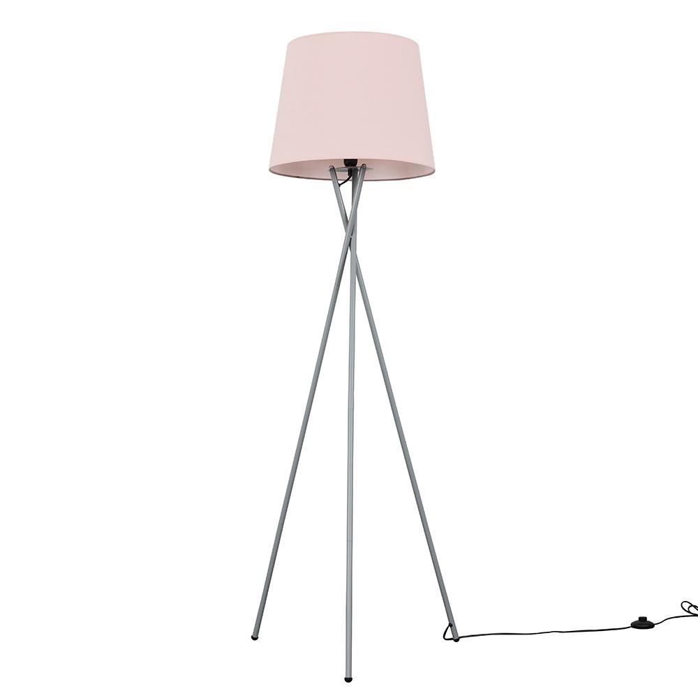 Camden Grey Tripod Floor Lamp with XL Dusty Pink Aspen Shade