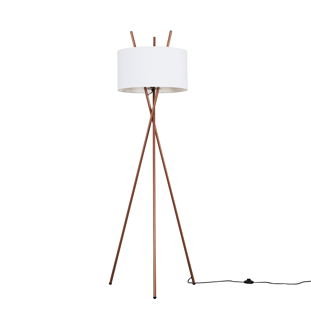 Crawford Copper Tripod Floor Lamp with XL White Reni Shade