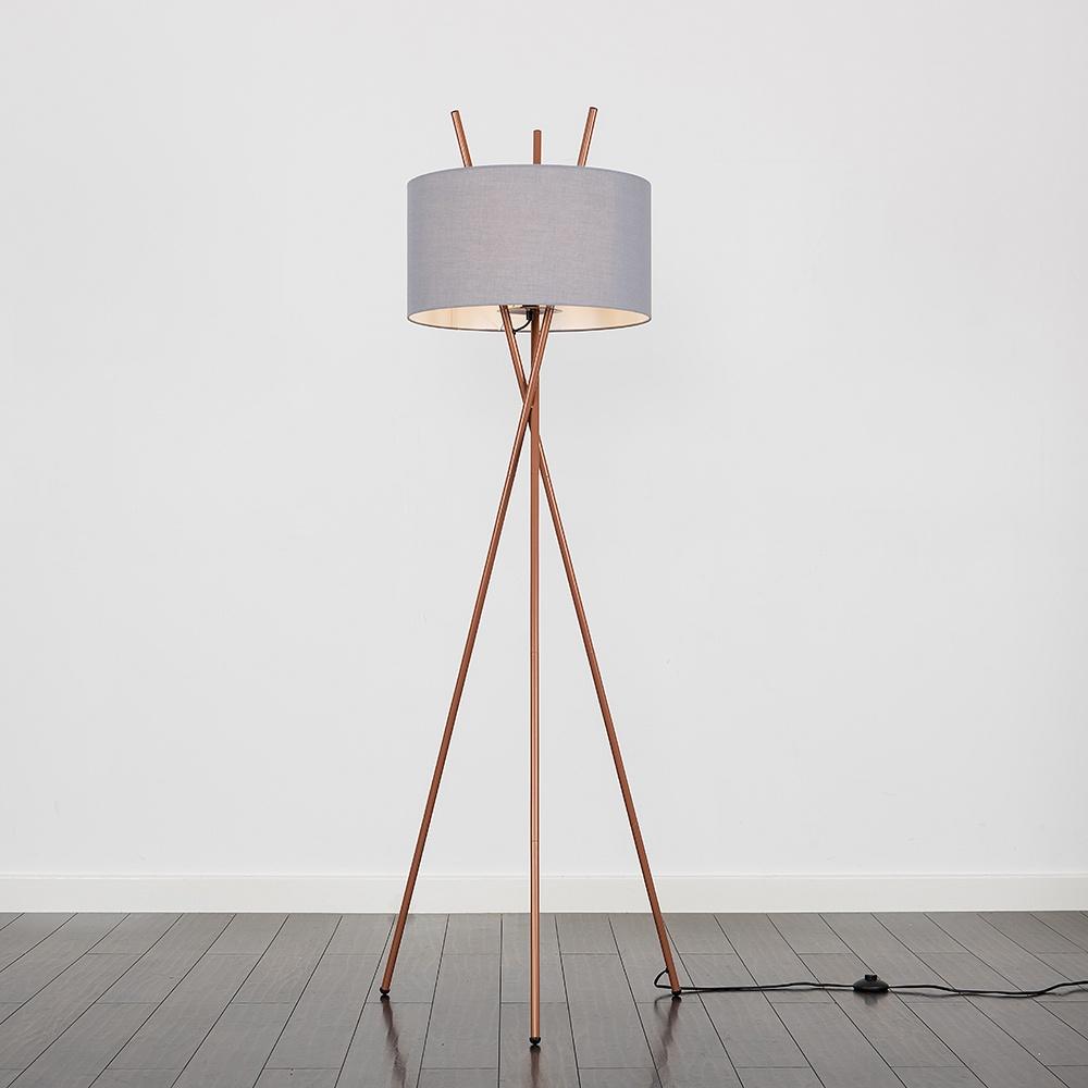 Crawford Copper Tripod Floor Lamp with XL Dark Grey Reni Shade