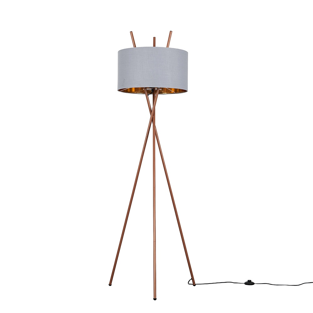 Crawford Copper Tripod Floor Lamp with XL Grey and Copper Reni Shade