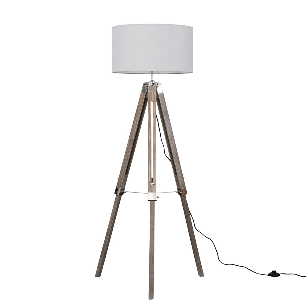 Clipper Light Wood and Chrome Floor Lamp with XL Cool Grey Reni Shade
