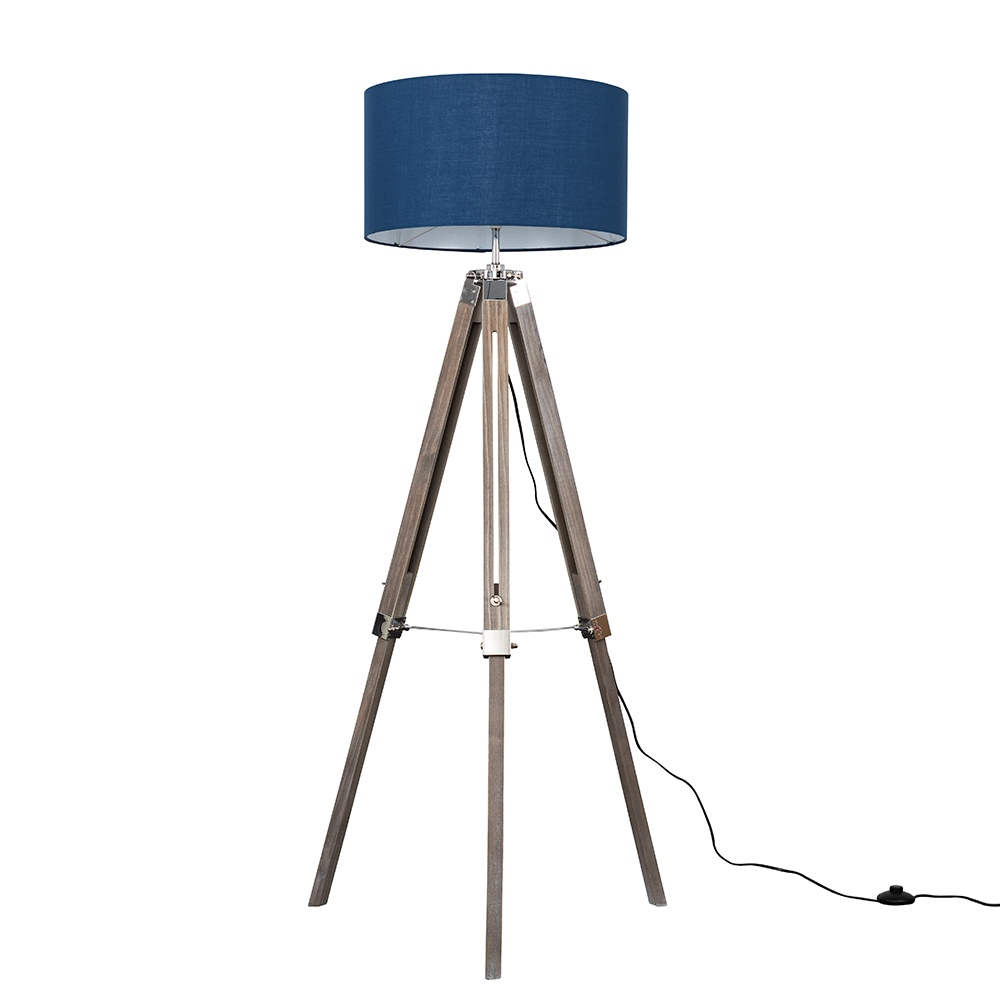 Clipper Light Wood and Chrome Floor Lamp with XL Navy Blue Reni Shade