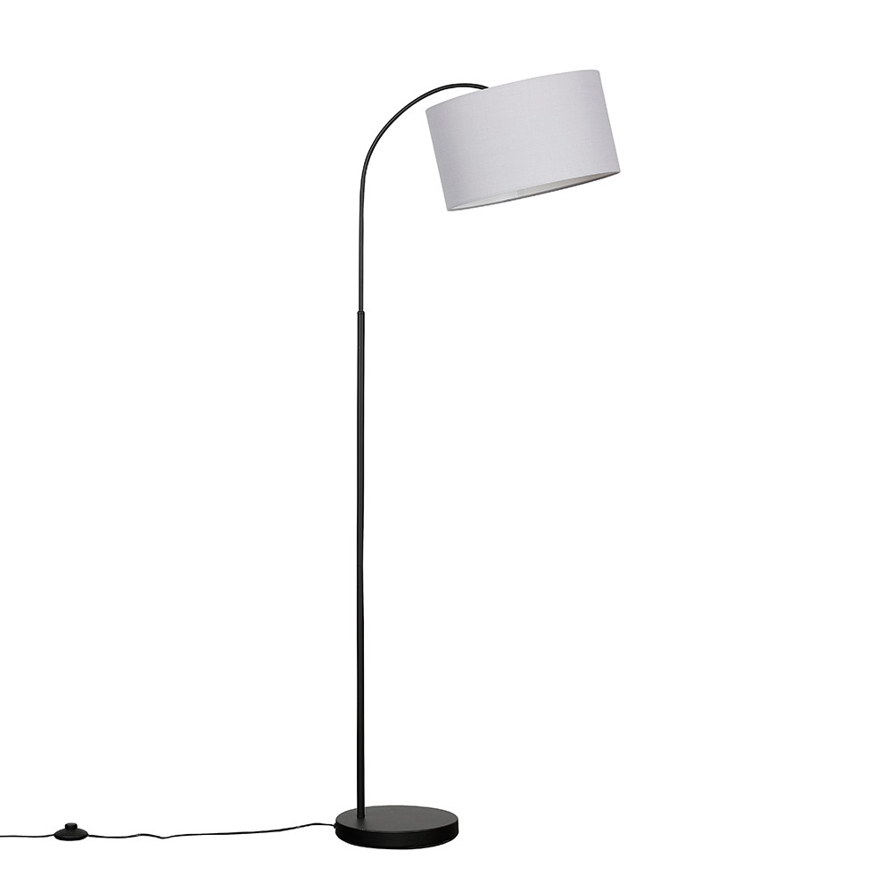 Curva Floor Lamp in Black with Large Cool Grey Reni Shade