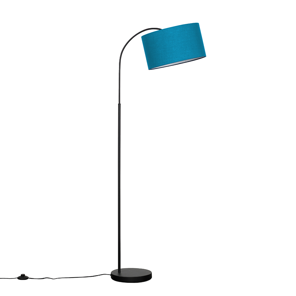 Curva Floor Lamp In Black With Large French Blue Reni Shade