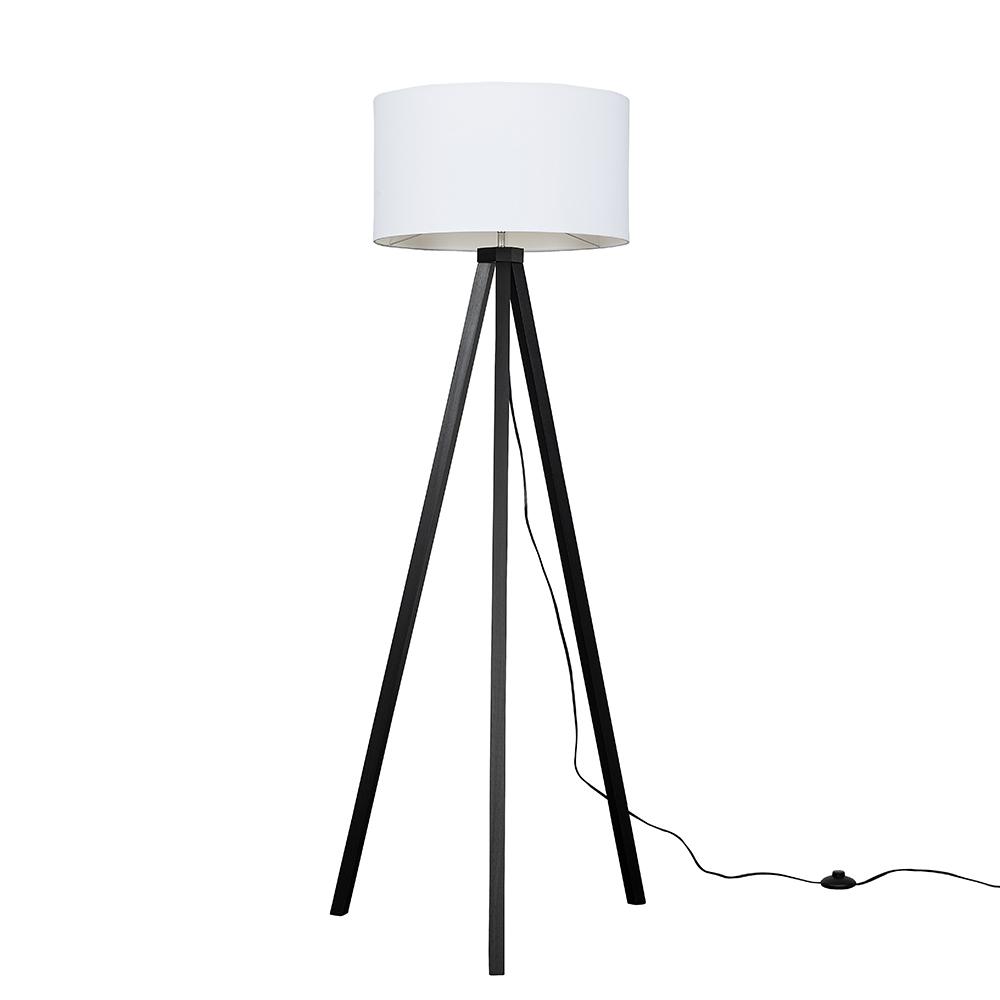 Barbro Dark Wood Tripod Floor Lamp with XL White Reni Shade
