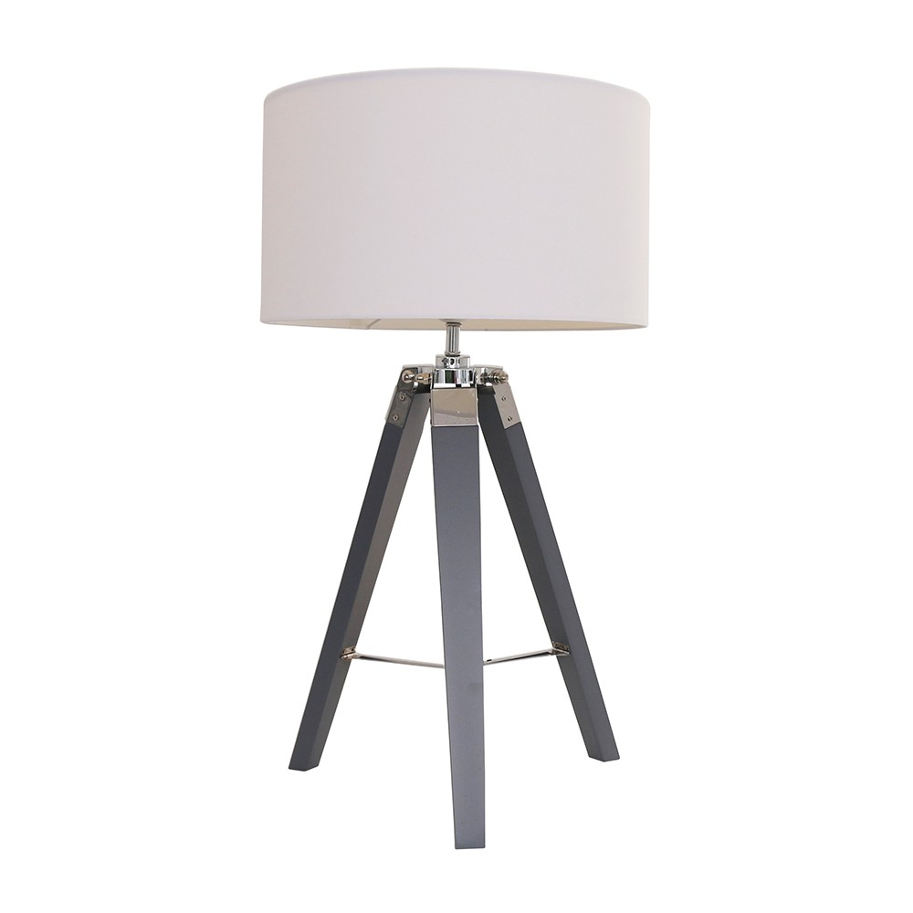 Clipper Grey Wood and Chrome Table Lamp with Large White Reni Shade