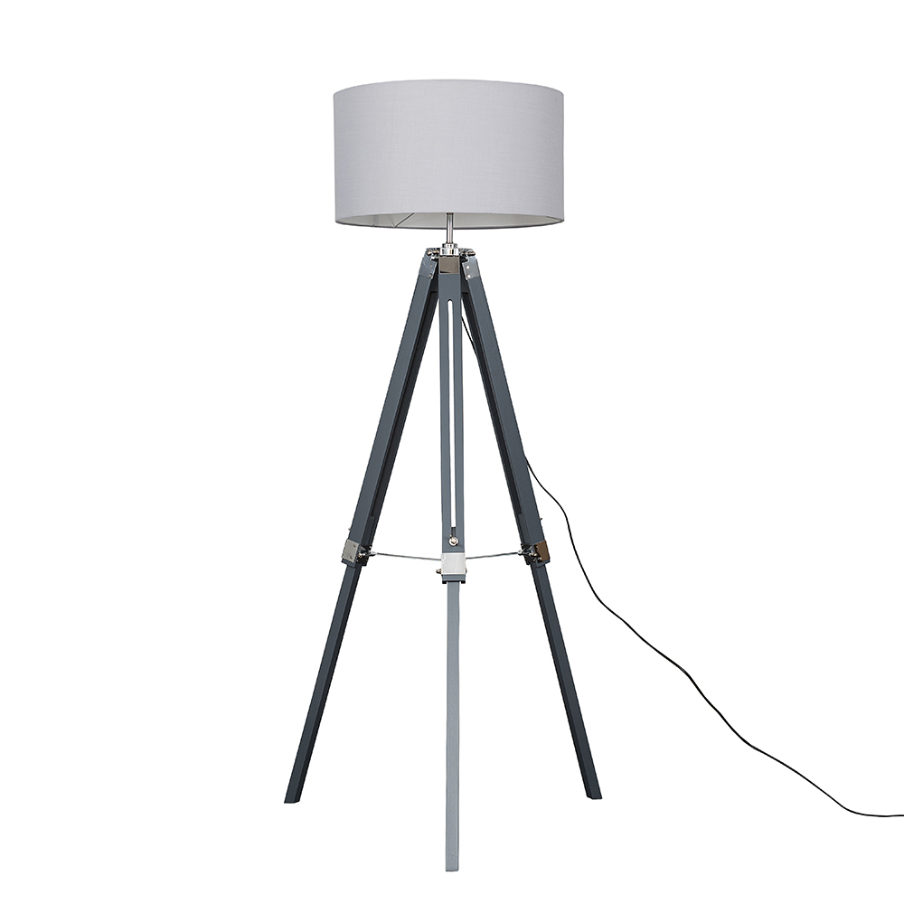 Clipper Grey Wood and Chrome Floor Lamp with XL Cool Grey Reni Shade