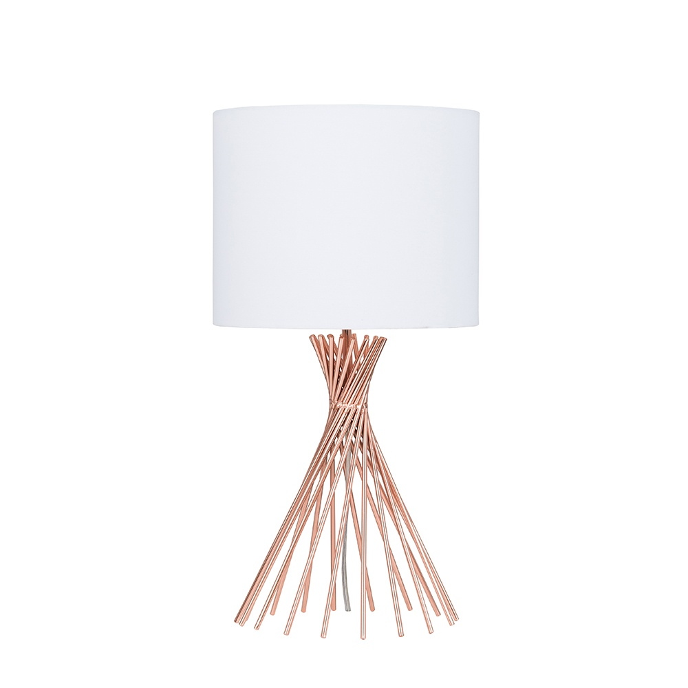 Gosforth Copper Table Lamp with White Reni Shade