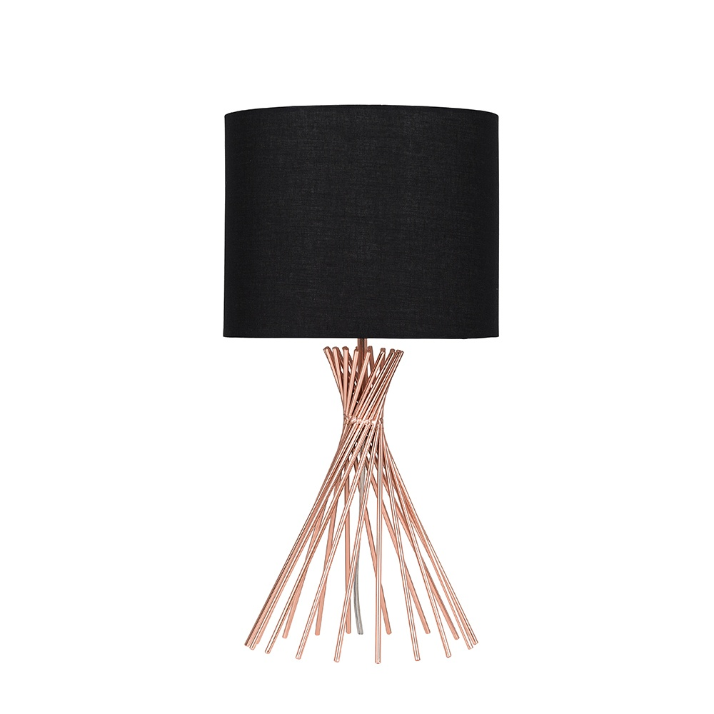 Gosforth Copper Table Lamp with Black Reni Shade