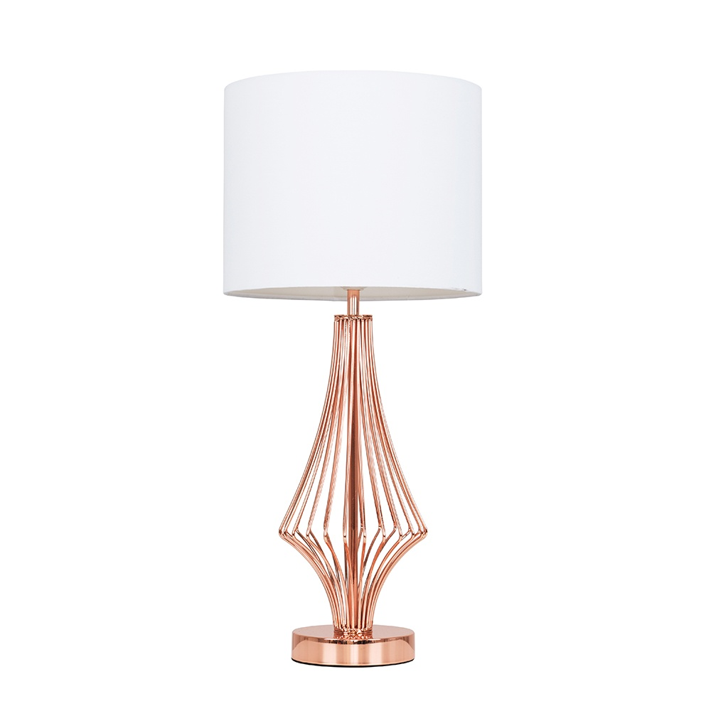 Jaspa Copper Table Lamp with White Reni Shade