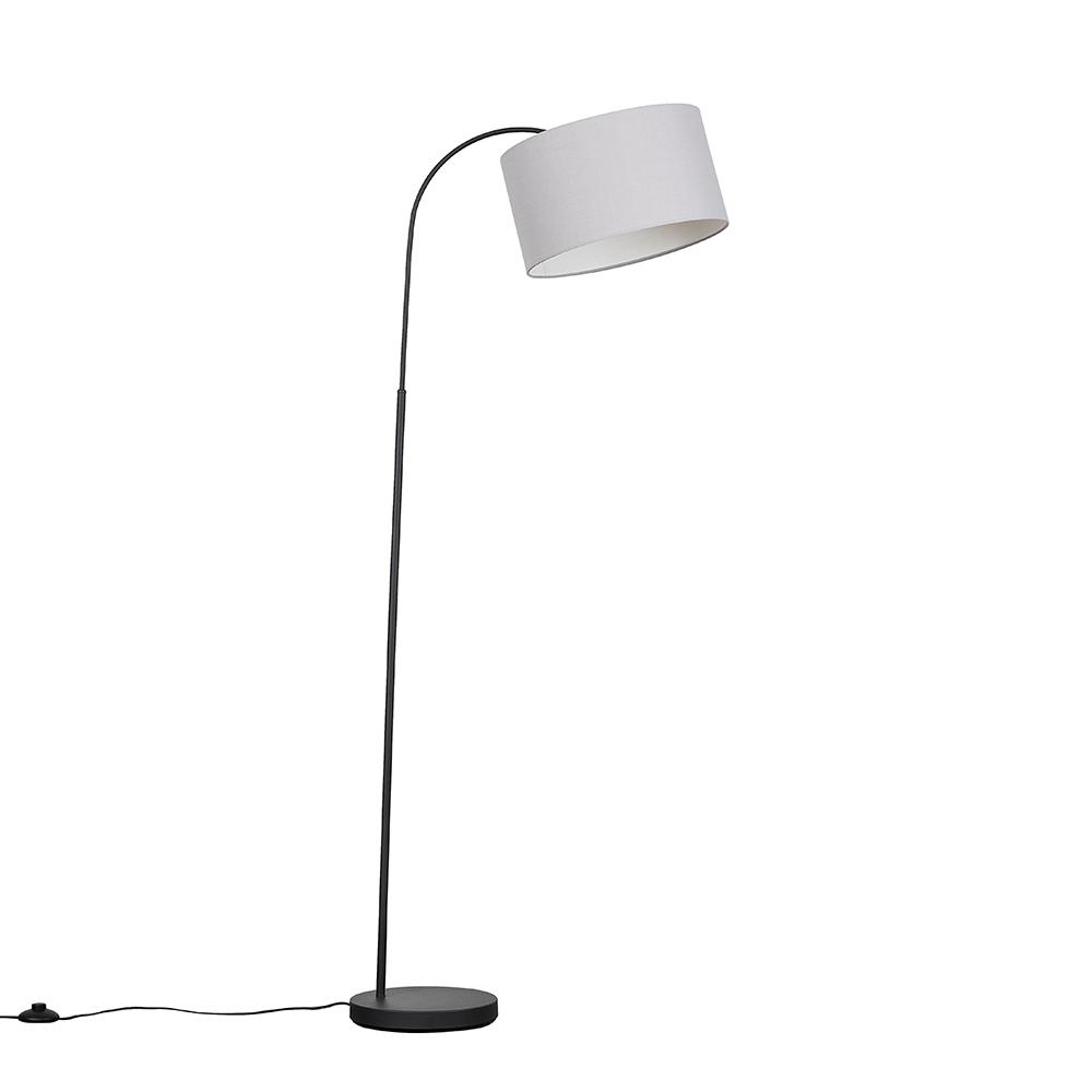Curva Dark Grey Floor Lamp with Large Cool Grey Reni Shade