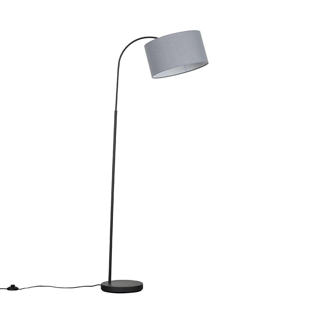 Curva Dark Grey Floor Lamp with Large Dark Grey Reni Shade