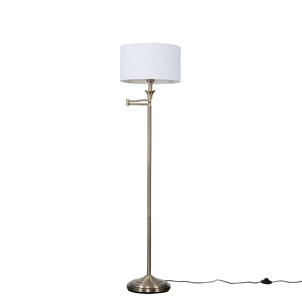 Sinatra Brass Floor Lamp with Large White Reni Shade