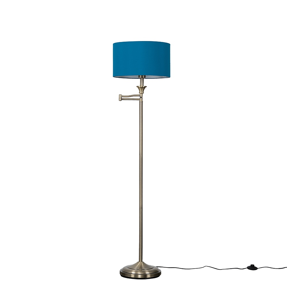Sinatra Brass Floor Lamp with Large French Blue Reni Shade