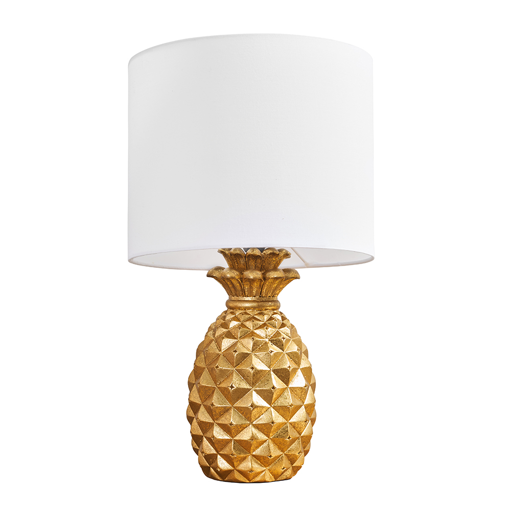 Pineapple Gold Table Lamp with White Reni Shade