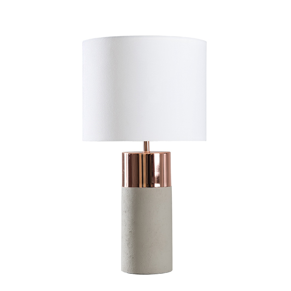 Finley Cement and Copper Table Lamp with White Reni Shade
