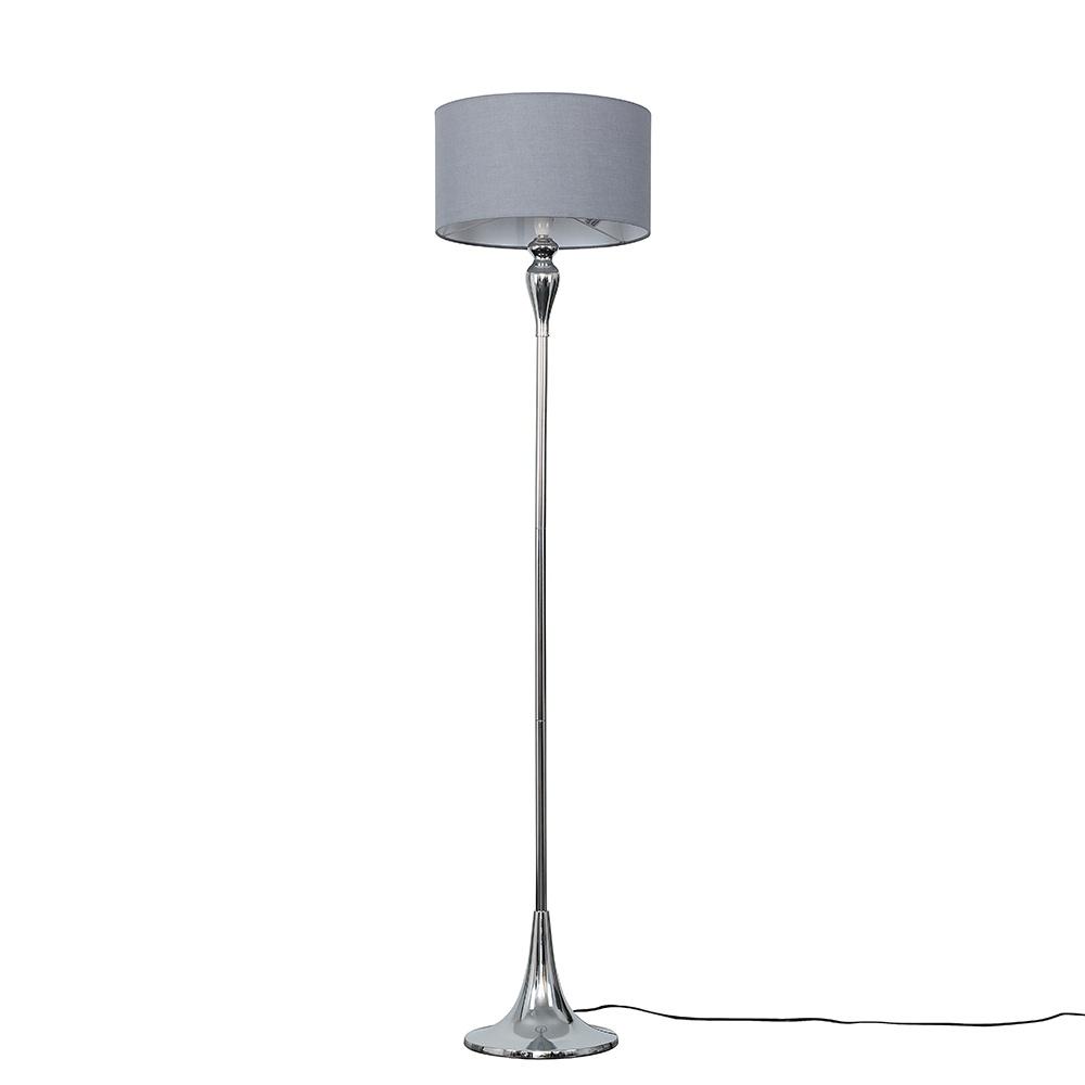 Faulkner Chrome Floor Lamp with Large Dark Grey Reni Shade