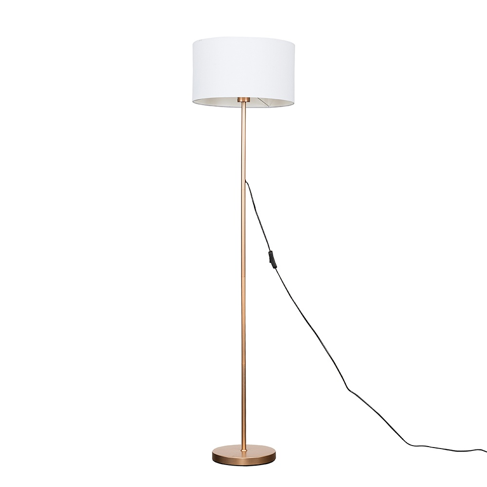 Charlie Copper Floor Lamp with Large White Reni Shade