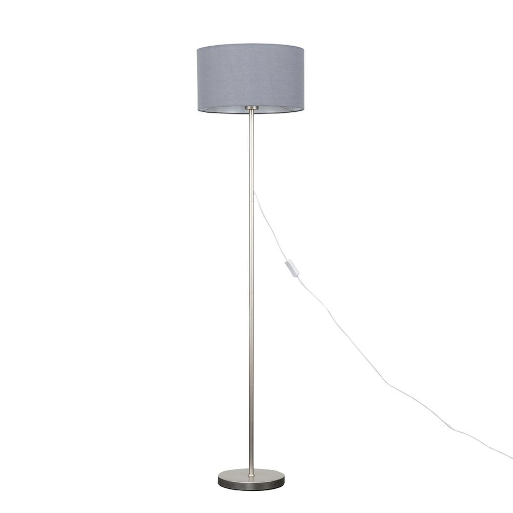 Charlie Brushed Chrome Floor Lamp with Large Dark Grey Reni Shade