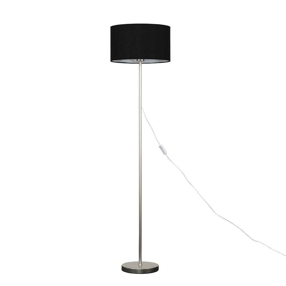 Charlie Brushed Chrome Floor Lamp with Large Black Reni Shade