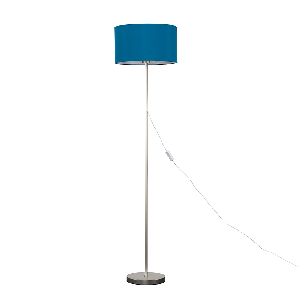 Charlie Brushed Chrome Floor Lamp with Large French Blue Reni Shade