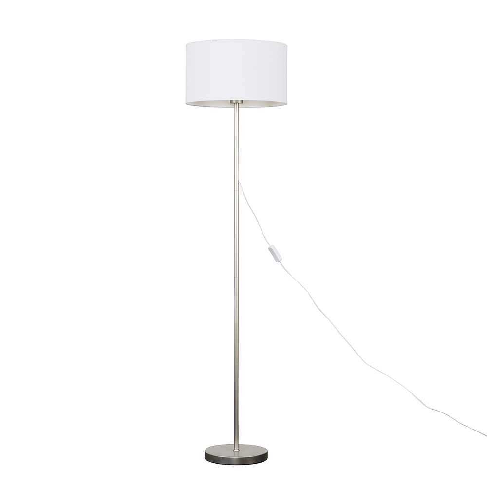 Charlie Brushed Chrome Floor Lamp with Large White Reni Shade