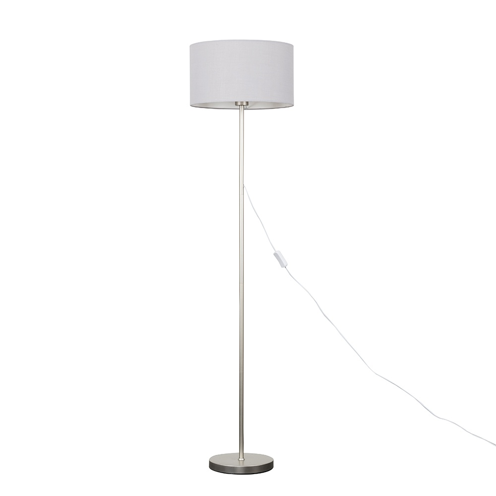 Charlie Brushed Chrome Floor Lamp with Large Cool Grey Reni Shade
