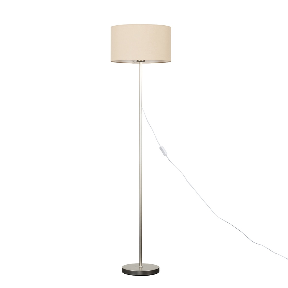Charlie Brushed Chrome Floor Lamp with Large Mink Reni Shade