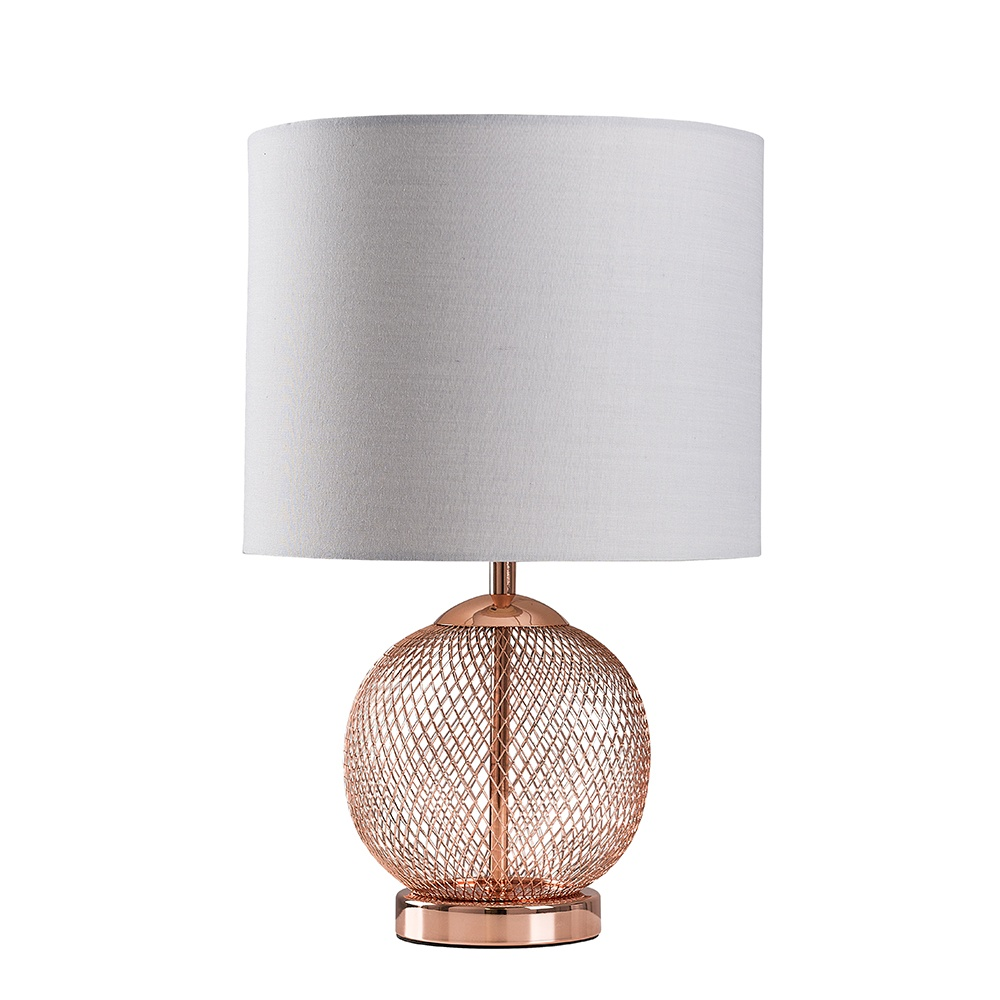 Regina Copper Touch Table Lamp with Cool Grey Reni Shade