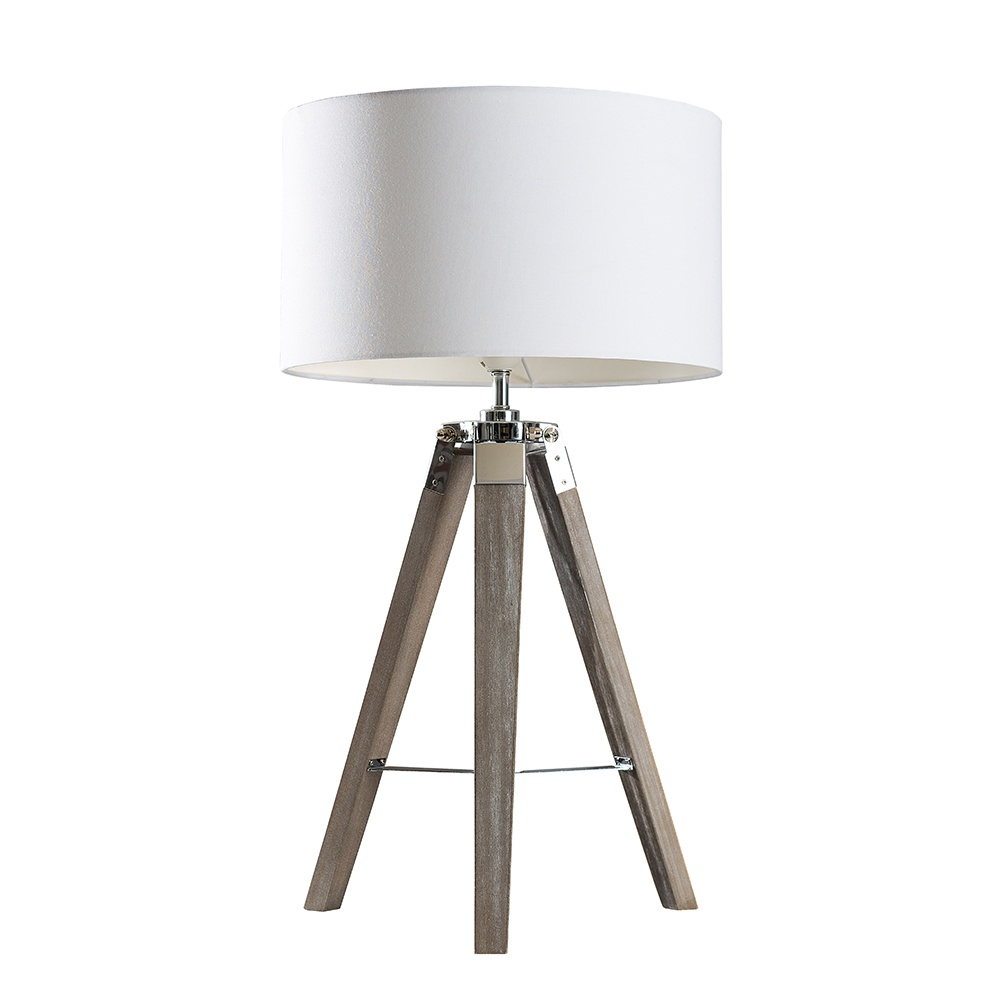 Clipper Light Wood Table Lamp with Large White Reni Shade
