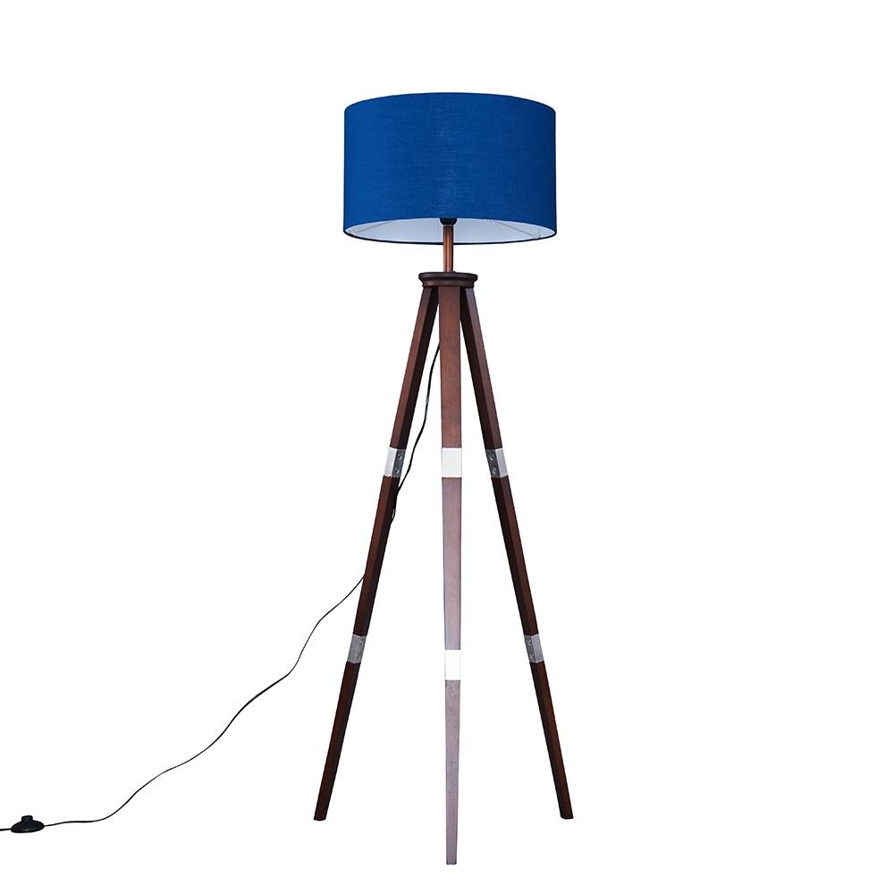 Willow Dark Wood Tripod Floor Lamp with XL Navy Blue Reni Shade