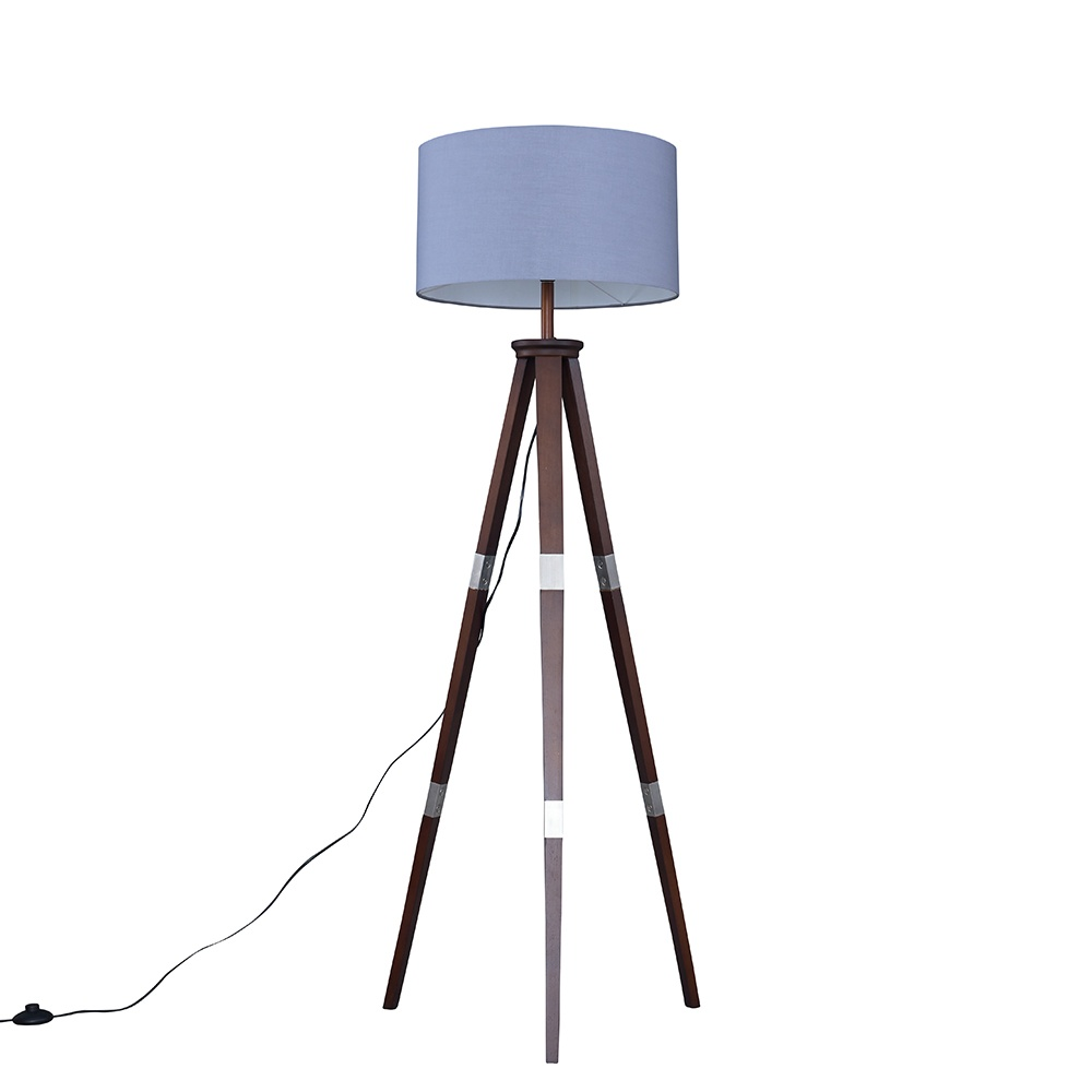 Willow Dark Wood Tripod Floor Lamp with XL Dark Grey Reni Shade