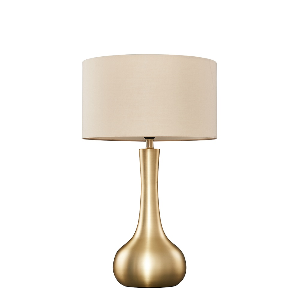 Laurin Large Gold Table Lamp with Mink Reni Shade