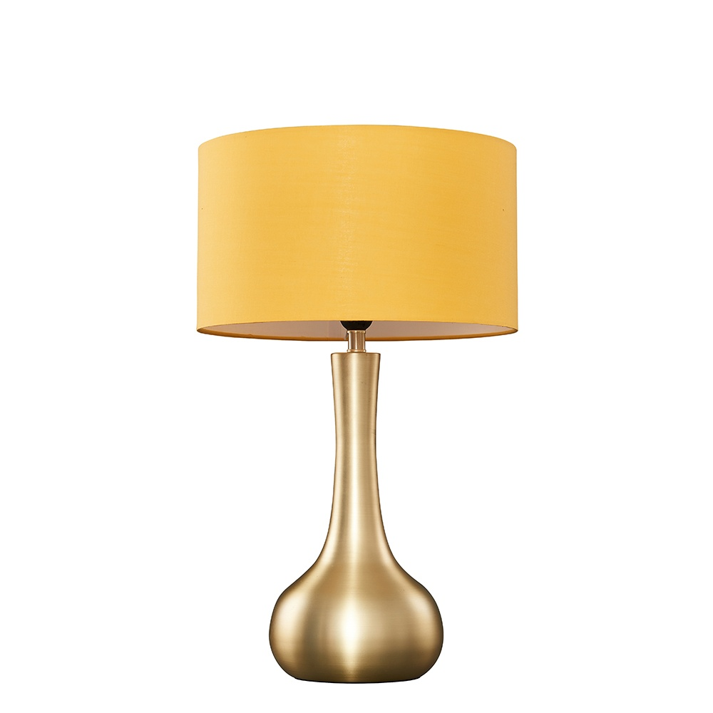 Laurin Large Gold Table Lamp with Mustard Reni Shade
