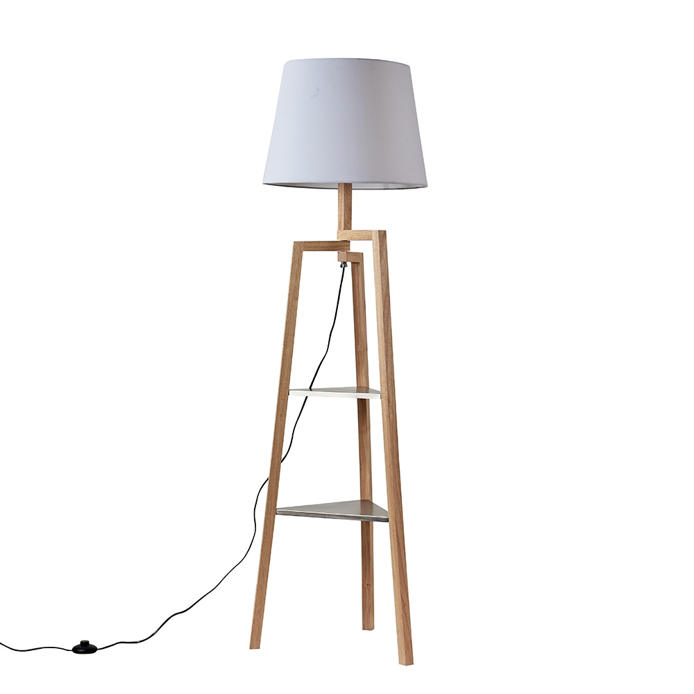 Towa Light Wood Tripod Floor Lamp with Shelves and XL White Aspen Shad