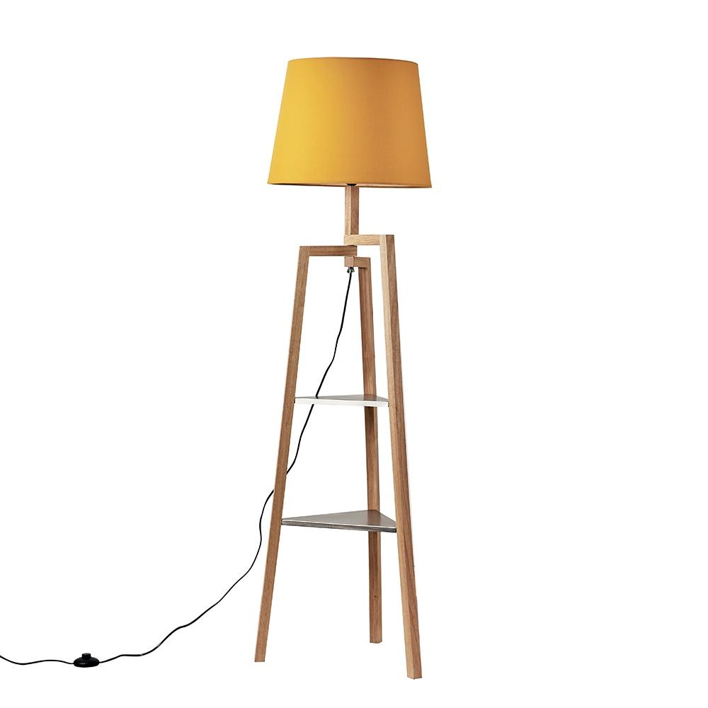 Towa Light Wood Tripod Floor Lamp with Shelves and XL Mustard Aspen Sh