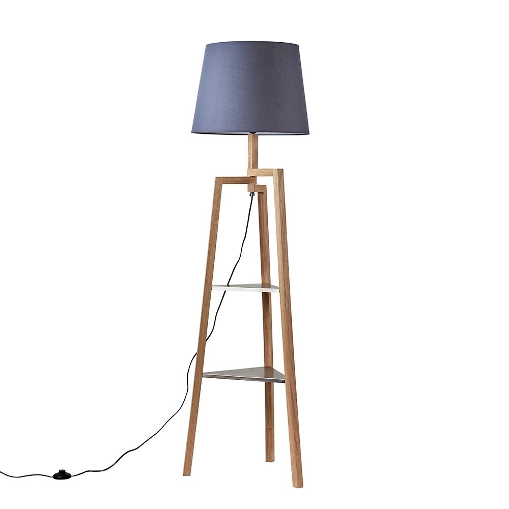 Towa Light Wood Tripod Floor Lamp with Shelves and XL Grey Aspen Shade