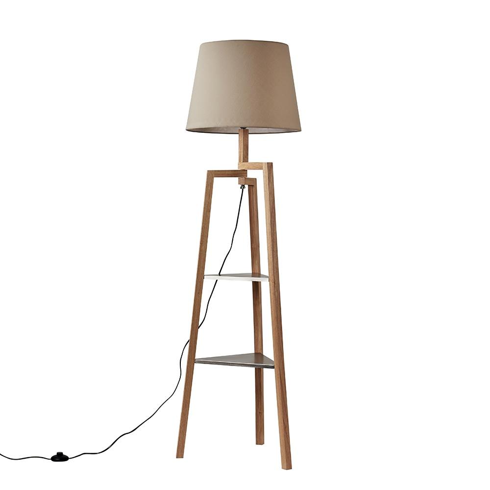Towa Light Wood Tripod Floor Lamp with Shelves and XL Beige Aspen Shad