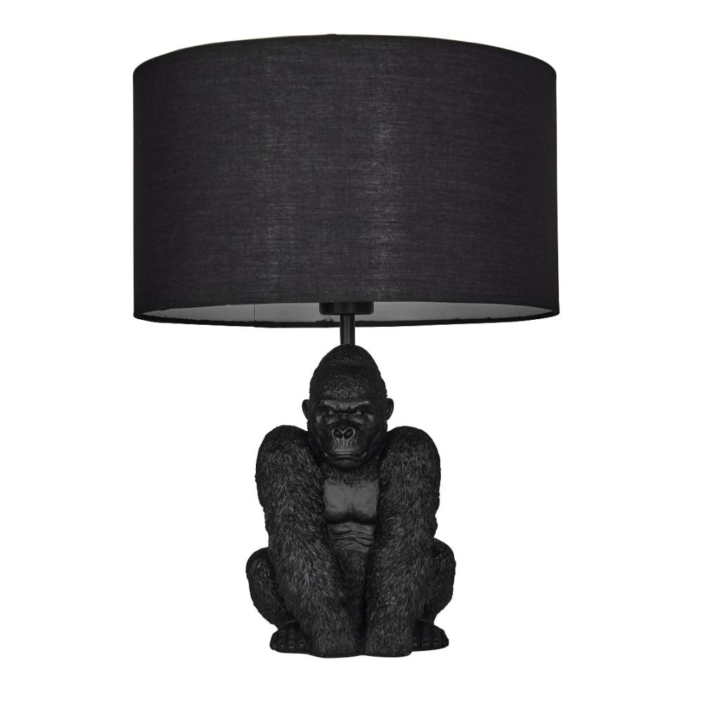 King Gorilla Table Lamp in Black with Black Reni Shade
