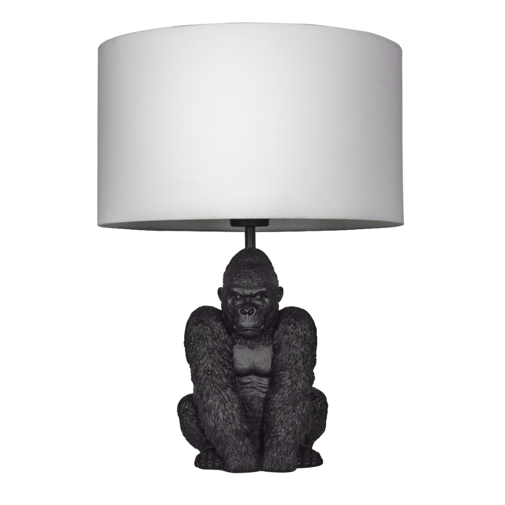 King Gorilla Table Lamp in Black with White Reni Shade