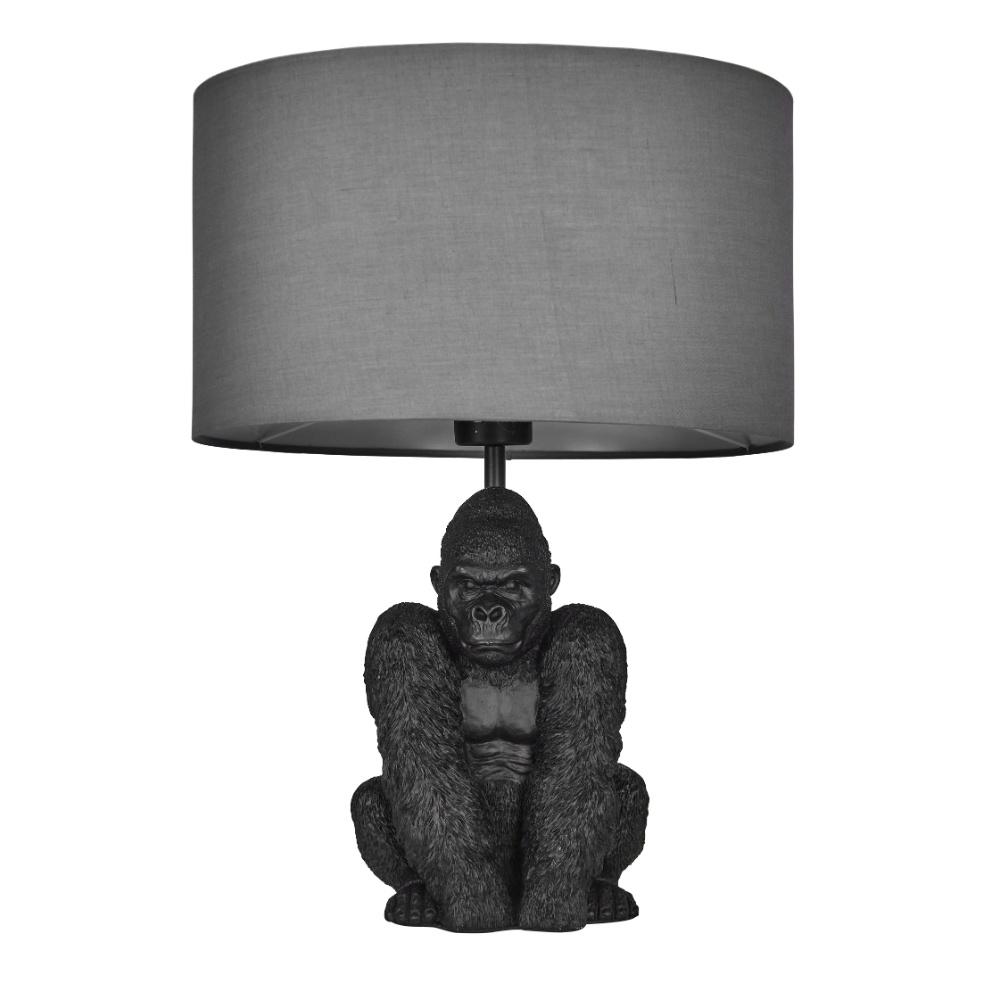 King Gorilla Table Lamp in Black with Dark Grey Reni Shade