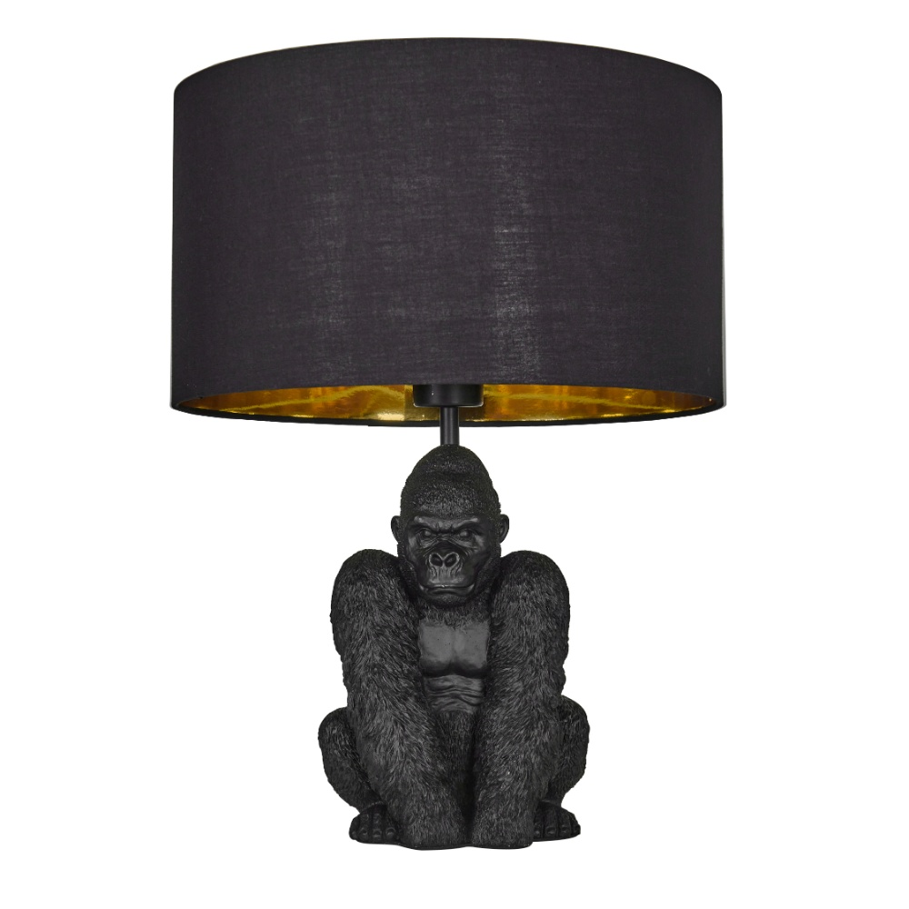 King Gorilla Table Lamp in Black with Black and Gold Reni Shade