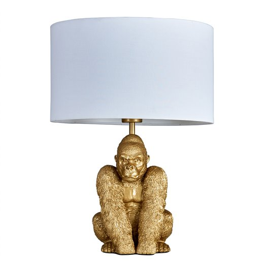 King Gorilla Table Lamp in Gold with White Reni Shade